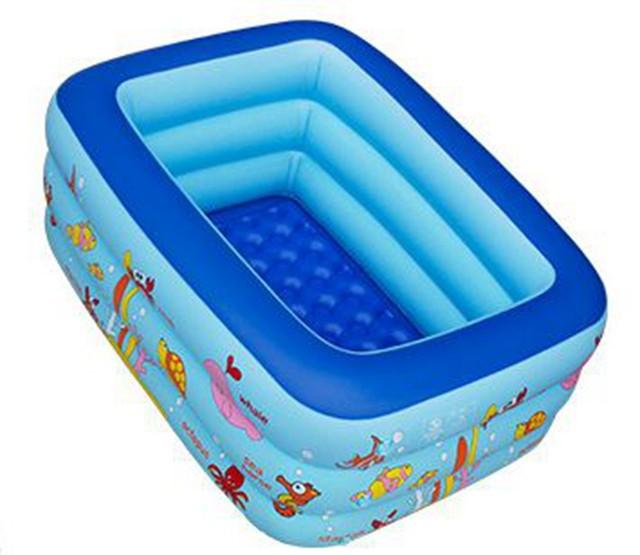 inflatable pool rectangle 3layer cartoon children splashing sand tub portable baby swimming pool kid bathtub 160x120x60cm - Rectangle Inflatable Pool