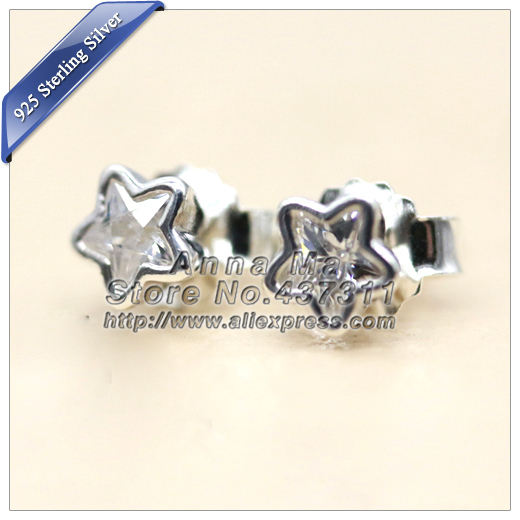 2015 Winter NEW S925 Sterling Silver Starshine With Clear CZ Stud Earrings Woman Jewelry Gift EA039