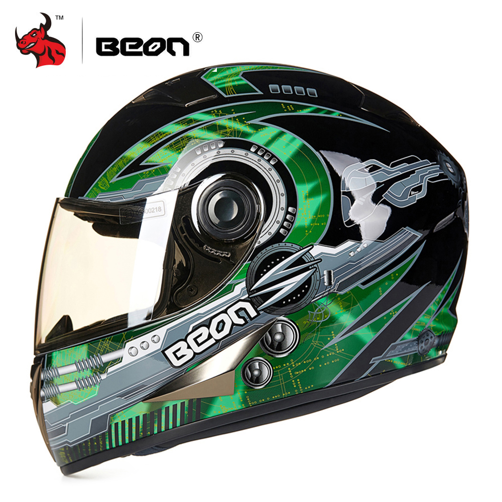 цена на BEON Motorcycle Helmet Moto Touring Helmet Motocross Motorbike Racing Riding Full Face Helmet casco capacetes