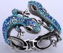 Lagarto gecko brazalete pulsera para las mujeres del oro antiguo plateado plata W crystal bling animal joyería al por mayor dropshipping A08