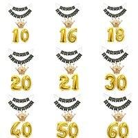 Золотой номер Корона воздушные шары ЧЕРНЫЙ счастлив баннер для 10 16 18 20 21 30 40 50 60 70 80 лет летний ребенок взрослых на день рождения украшения по...