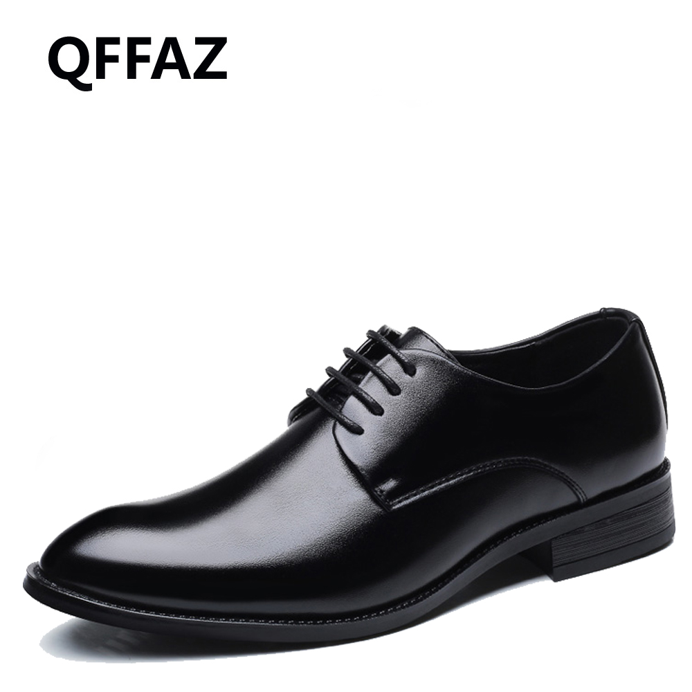 QFFAZ New Classic men s dress shoes Lace Up Mens Leather Black Wedding Shoes Oxford Formal