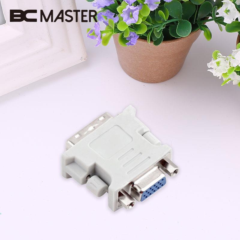 BCMaster DVI Male 24+5 Pin to VGA Female Audio Video Cables DVI to VGA Video Converter Adapter For DVD HDTV projector