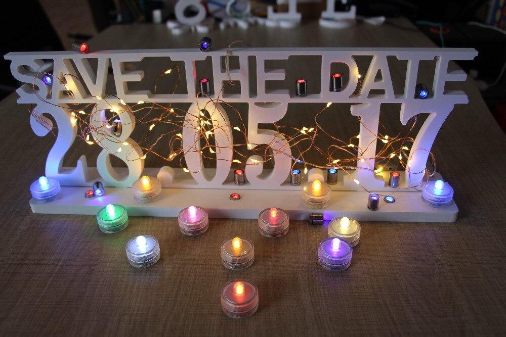 Nejnovější kreativní LED světelné dřevo Dřevěná písmena Abeceda Slovo Mr & Mrs / Semper Uložit datum pro domácí svatební party dekorace