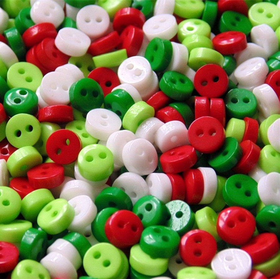 1000pcs Christmas Mixed RED WHITE GREEN 6mm Mini Tiny Buttons Resin Round Sewing Accessories Button Fit Scrapbooking Cardmaking in Buttons from Home Garden