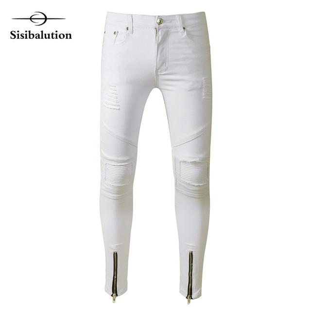 Streetwear De Mode Hommes de Genou Trou Skinny jeans Blanc bleu noir gris  stretch denim pantalon 801a85968407