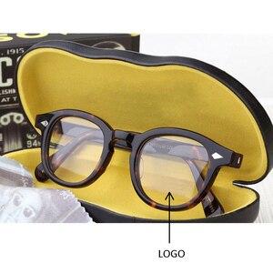 Image 1 - Johnny Depp gözlük erkekler kadınlar bilgisayar gözlük yuvarlak şeffaf gözlük marka tasarım asetat tarzı Vintage çerçeve sq004