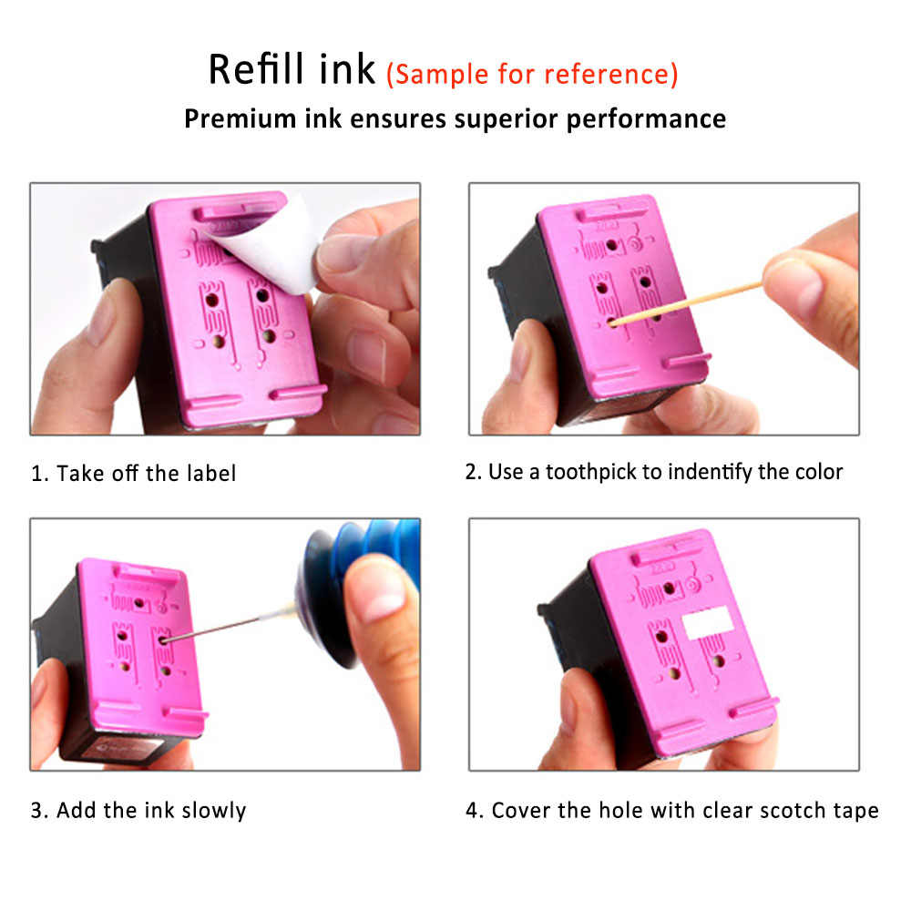 Cartuchos de tinta XiangYu 2 Pk compatibles con impresora HP 61 XL Envy 4500 4504 5530 Officejet 2620 4630