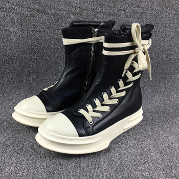 Personalized leather cowhide platform trainer sneaker Boots daily real leather flat Martin Boots