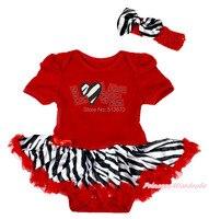 Valentine Zebra coeur Bling amour rouge body zèbre jupe bébé robe ensemble NB-12M MAJSA0369