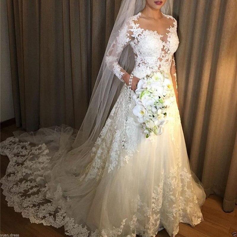 2019 Lace Wedding Dresses A-Line Illusion Long Sleeves Saudi Arabic Wedding Gown Bridal Dresses Robe De Mariee