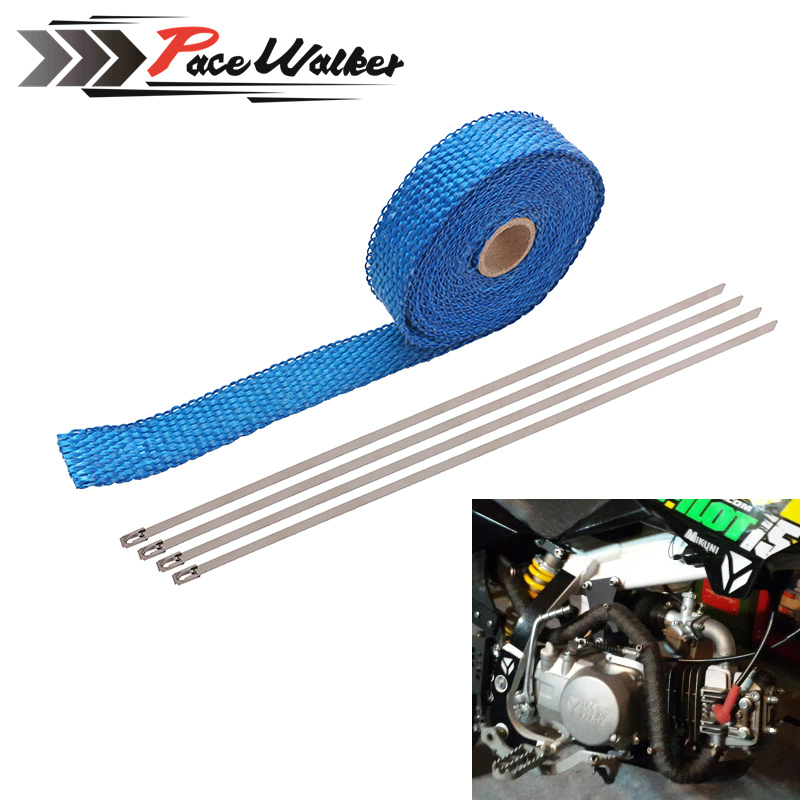 CAR MOTORCYCLE Incombustible Turbo MANIFOLD HEAT EXHAUST WRAP TAPE THERMAL STAINLESS TIES 1.5mm*25mm*5m