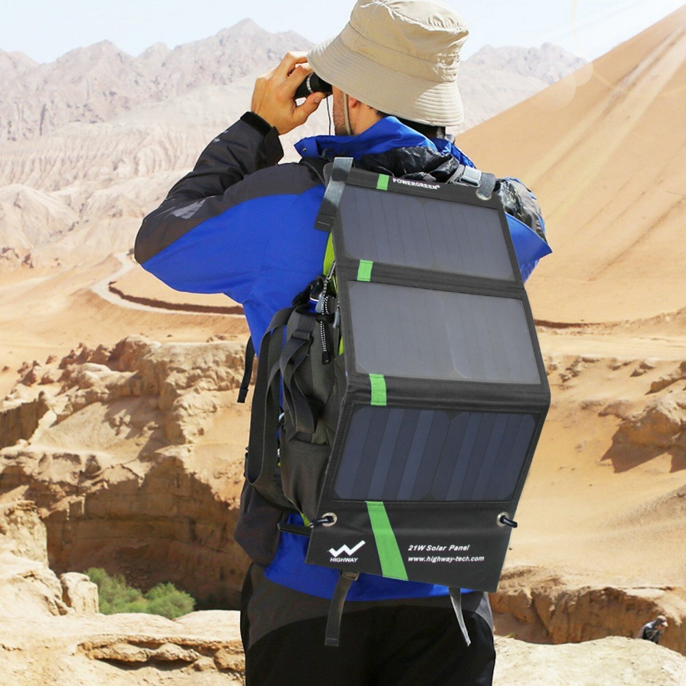 PowerGreen Tunnfällbar solladdare 21 watt extern batteriryggsäck - Reservdelar och tillbehör för mobiltelefoner - Foto 5