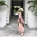 [2017] donde Shu nuevo desgaste del resorte pequeño chaleco corto de las mujeres cruz ahuecado halter tops