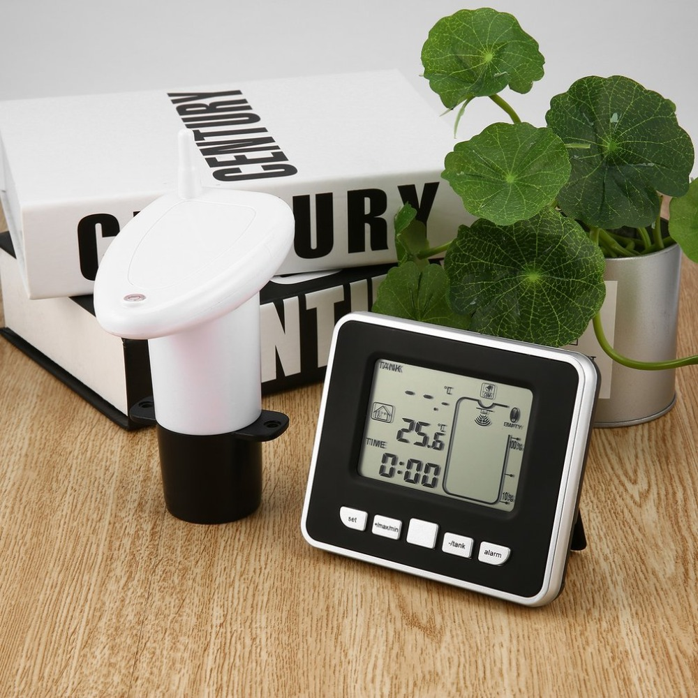 US $38 85 26% OFF Ultrasonic Wireless Water Tank Liquid Depth Level Meter  Sensor with Temperature Display with 3 3 Inch LED Display-in Level  Measuring