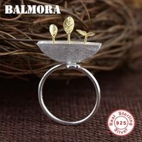 BALMORA Stałe 925 Sterling Silver Flower Liści Pąki Biżuteria Anillos Rings dla Kobiet Prezent Sterling Srebrny Pierścień Delikatne SY21634