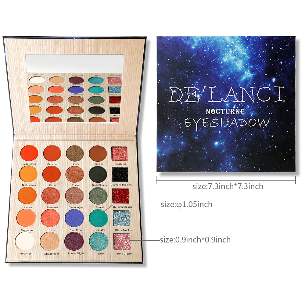 Eyeshadow Palette Professional DE'LANCI 25 Color Makeup Eyeshadow Palette Long-lasting Eye Shadow Makeup Powder