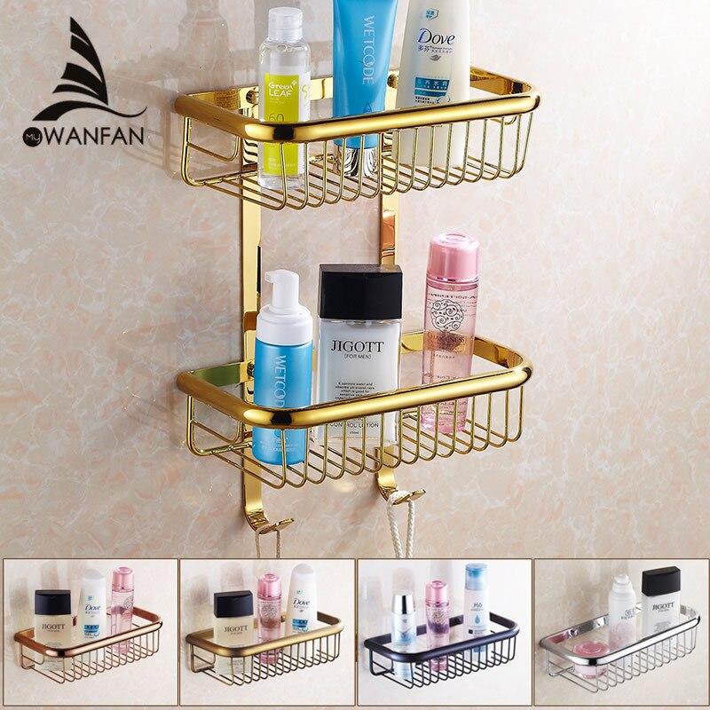 Online Shop Bathroom Shelves Dual Tier Bathroom Rack Chrome Brass ...