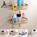 Free shipping Two Layer Bathroom Rack Chrome Brass Towel Washing Shower Basket Bar Shelf /bathroom shelves for bath HJ-829