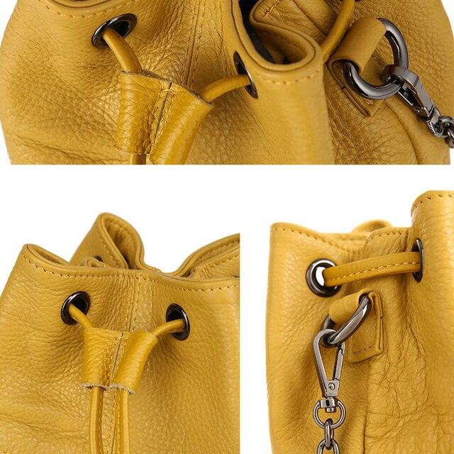 Newest Fashion Bucket Bag Summer Women Genuine Leather Shoulder Bag Lady Soft Real Leather Cross Bag Simple Messenger Bag E 4