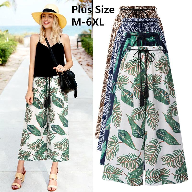 2019 Summer Women Cotton Printed   Wide     Leg     Pants   High Waist Loose   Pants   Female Casual Beach   Pants   Plus Size