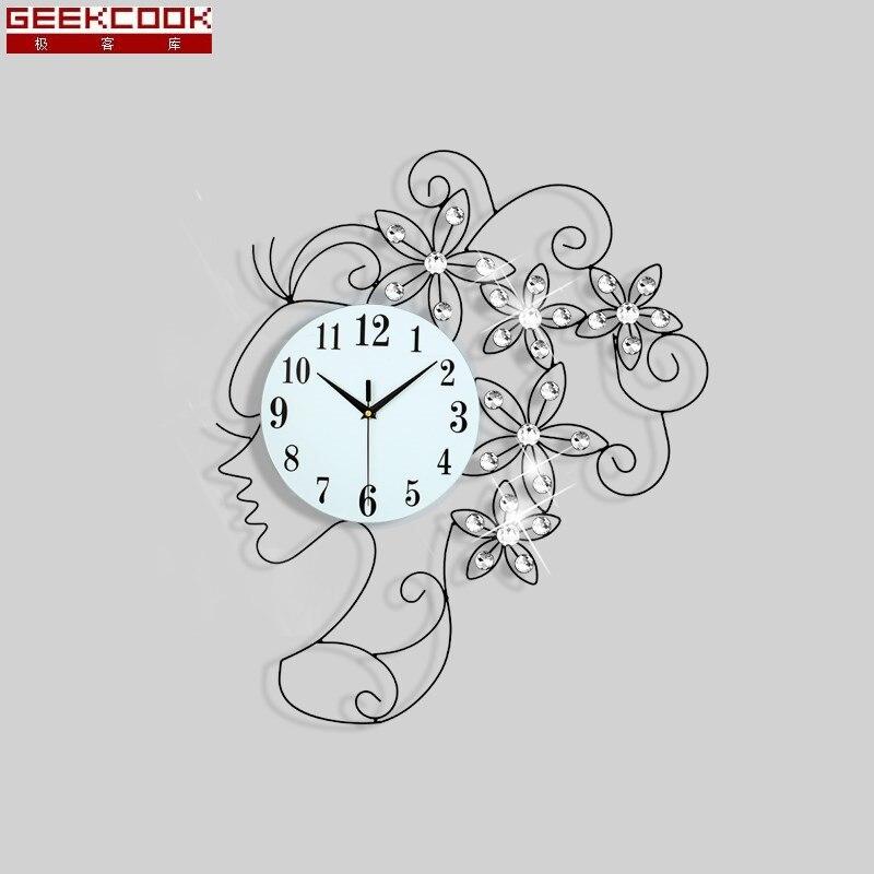 65x50 Cm Creative Fille Horloge Murale Design Moderne Mur