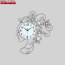 65X50CM Creative Girl Wall Clock Modern Design European Fashion Wall Watch Living Room Bedroom Mute Clock