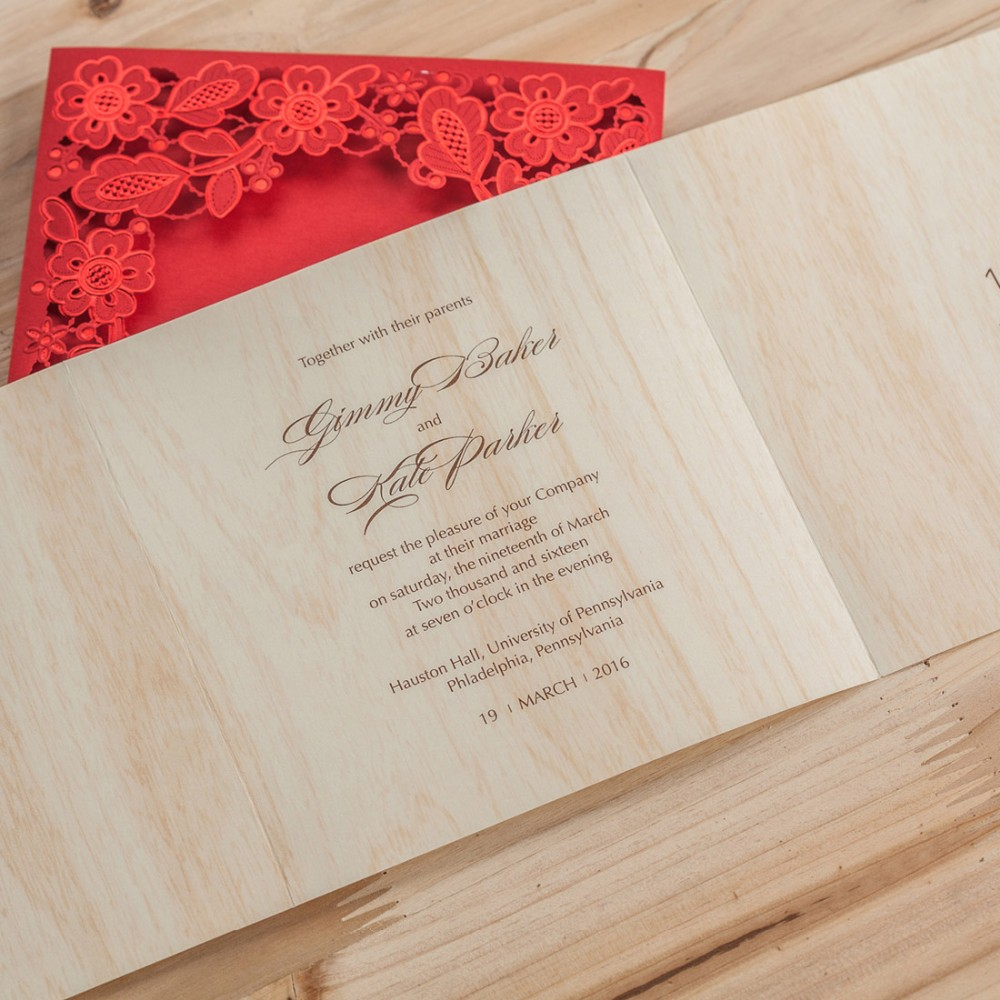 Laser Cut Wedding Invitations Cards Red Black Flowers Invitation ...