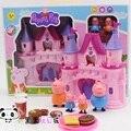 Розовая свинья дом Делюкс фигурки игрушки животных свинья членов семьи коттедж играть дома juguetes дети ребенок подарок brinquedo