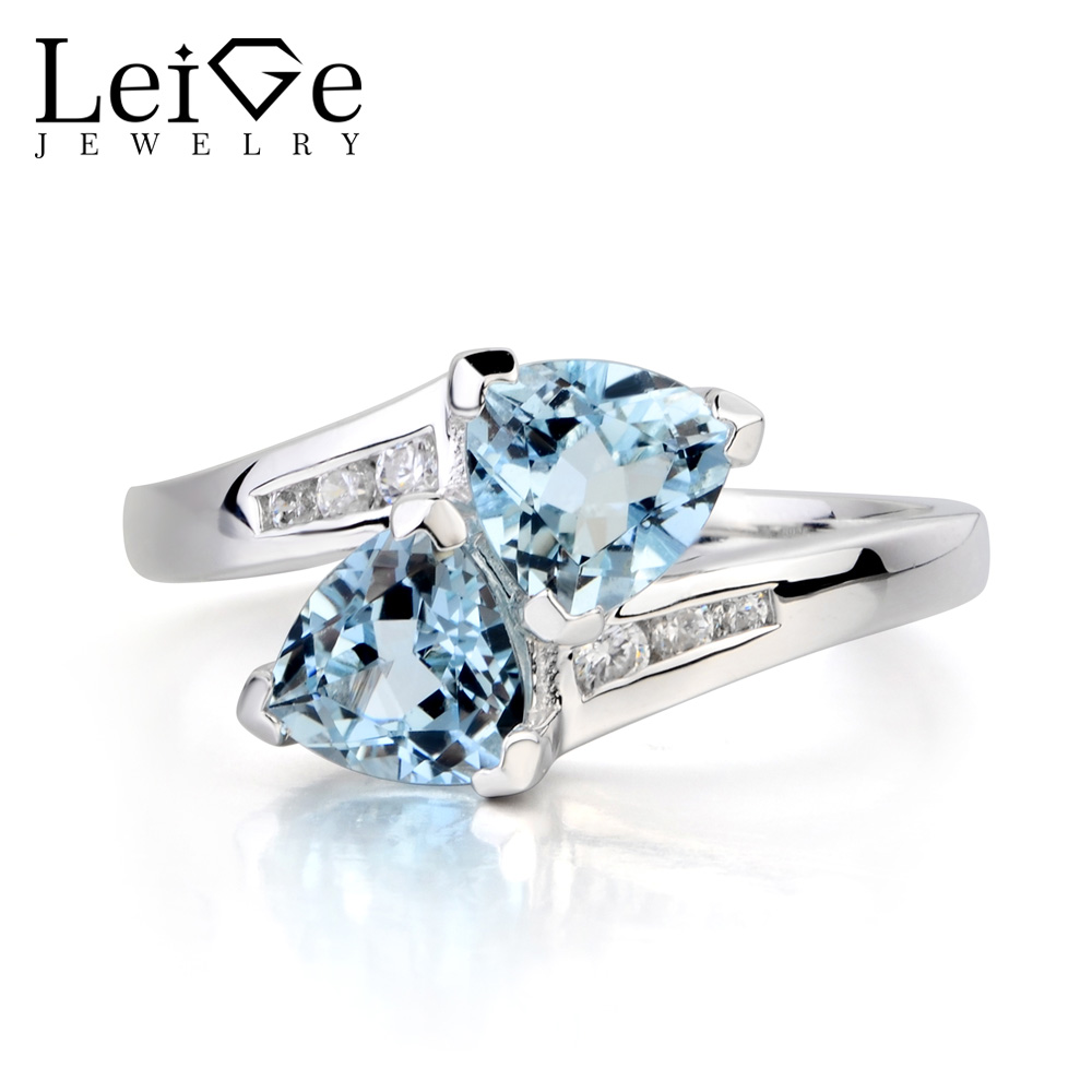 Leige Jewelry Anniversary Ring Natural Aquamarine Ring June Birthstone Trillion Cut Blue Gems 925 Sterling Silver Ring Gifts