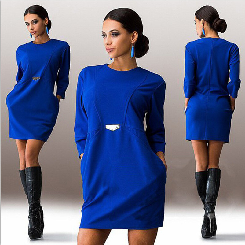 2015 Europe aliexpress wish explosion winter new color fashion sexy dress