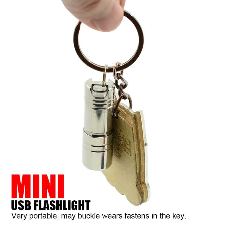 Handy Mini Keychain Flashlight LED Torch USB Rechargeable Pocket Flash Light Strong Stainless Steel Key Chain Lamp Lanterna