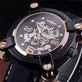 Ganador del Diseño Forma Irregular Ocasional Caja Oro Negro Rubber Band Mens Mecánico Automático Reloj Esqueleto de Lujo Superior Relojes