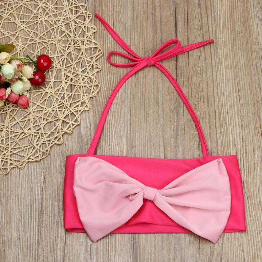 Big Bowknot 2PCS Baby Girl Set Clthing Summer Sleeveless Tops + Pants Girl set outfits 2017 girl swimwear Pink 2T 3T 4T 5T 6T