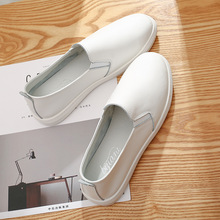 Genuine Leather Womens White Flat Sneakers 2019 Spring Casual Slip on Women Vulcanized Shoes Comfortable Female
