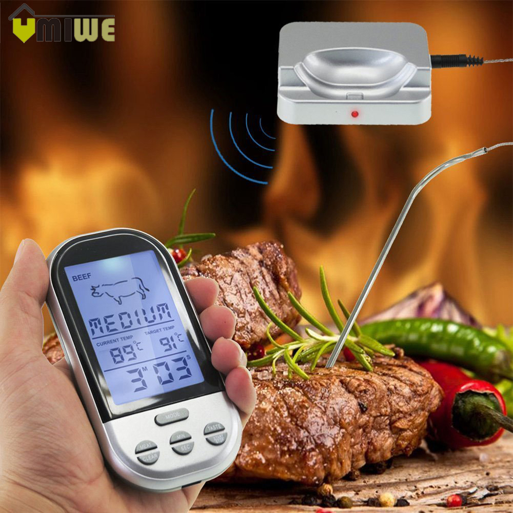 Ménage BBQ Thermomètres Sans Fil Numérique Four Et Grill de Cuisson de La Viande À Distance Cuisine Thermomètre Et Minuterie Avec Longue Sonde