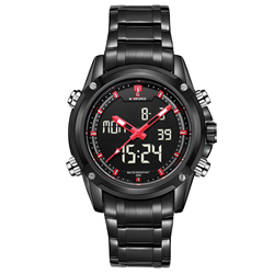 Zegarek NAVIFORCE mężczyźni Top marka luksusowe cyfrowy analogowy sportowy zegarek wojskowy ze stali nierdzewnej mężczyzna zegar Relogio Masculino 2019