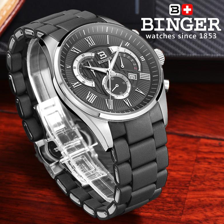 İsveçrə kişilər üçün lüks marka qol saatları BINGER Quartz - Kişi saatları - Fotoqrafiya 4