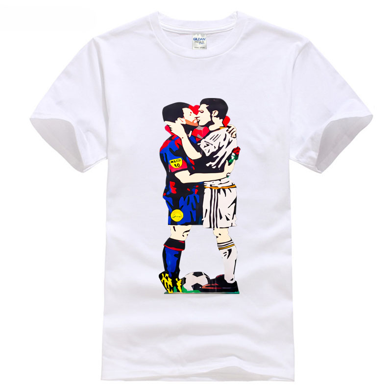 2018 Barcelona messi 10 and ronaldo 7 Madrid kiss t shirt new tops footballer happy Classic Quality High free shipping t-shirt S