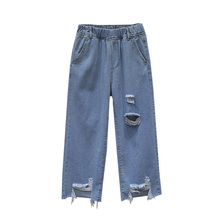 Boyfriend Jeans High Waist Women Pocket Blue Ripped Hole Wide Leg Pants Loose Denim Trousers For Woman Summer Casual Jeans tie waist pocket wide leg jeans