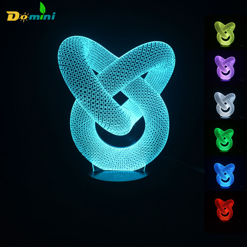 ФОТО 3D artistic Circles Modern 100~240v Night color change LED desk table light lamp