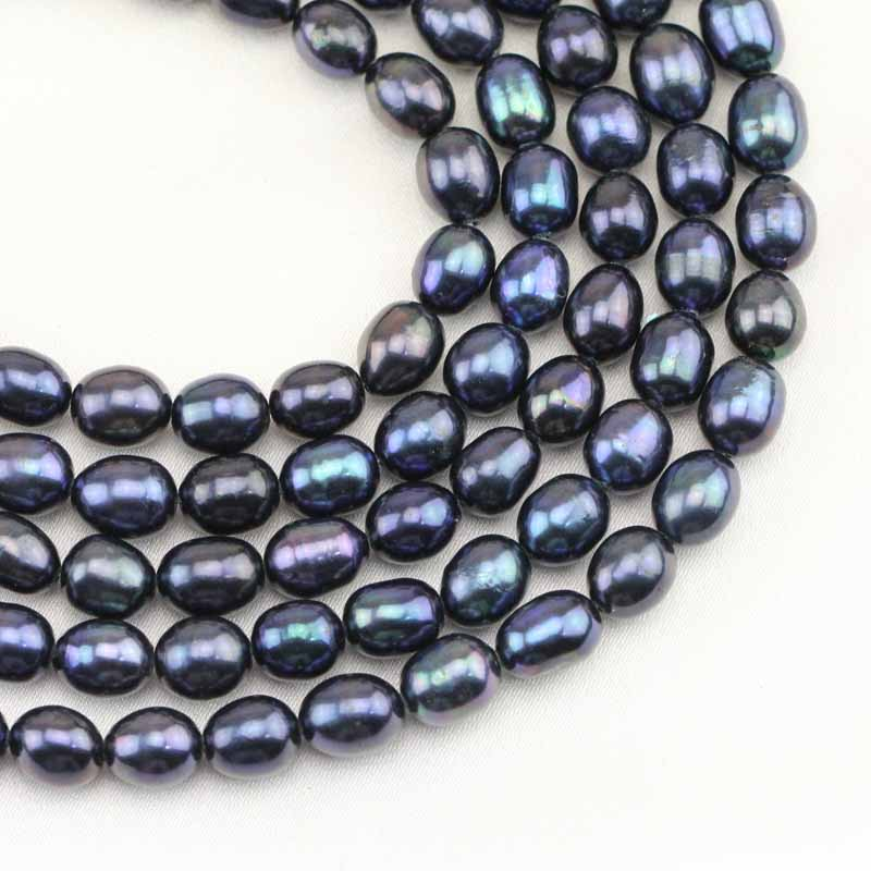 Jewelry & Accessories Beads Charms Black 7-8mm Natural Cultured Freshwater Pearl Rice Beads Women Wholesale Price Loose Jewelry Making 15inch B1369 Lustrous