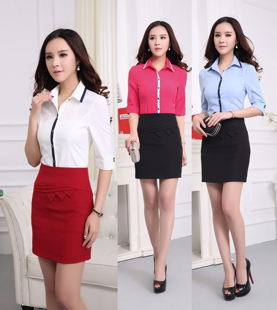 50afbaf5ddaa New 2015 Summer Female Office Suits Formal Uniform Design Blouse And Skirt  Outfits Blouses Sets Business