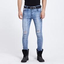 2017 новый мужчины рваные джинсы отверстия проблемные уничтожено hip hop дизайнерский бренд slim fit карандаш джинсы бесплатная доставка