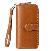 Large Capacity Split Leather Wallet Quality Long Women Card Holder  Wallet Zipper Clutch Casual Zipper Retro Purse Women Coin Ba