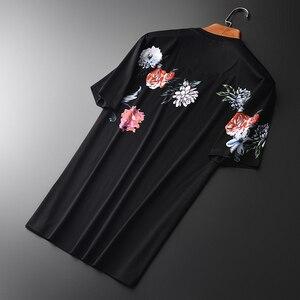 Image 3 - Minglu 100% Cotton Mens T shirts Luxury Diamond And Printing Round Collar Men T shirts Plus Size 4xl Slim Fit T shirts Man