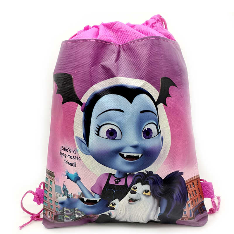 1PCS Vampirina Theme Kids Girls Favors Non-woven Fabric Baby Shower Backpack Happy Birthday Party Mochila Drawstring Gifts Bags