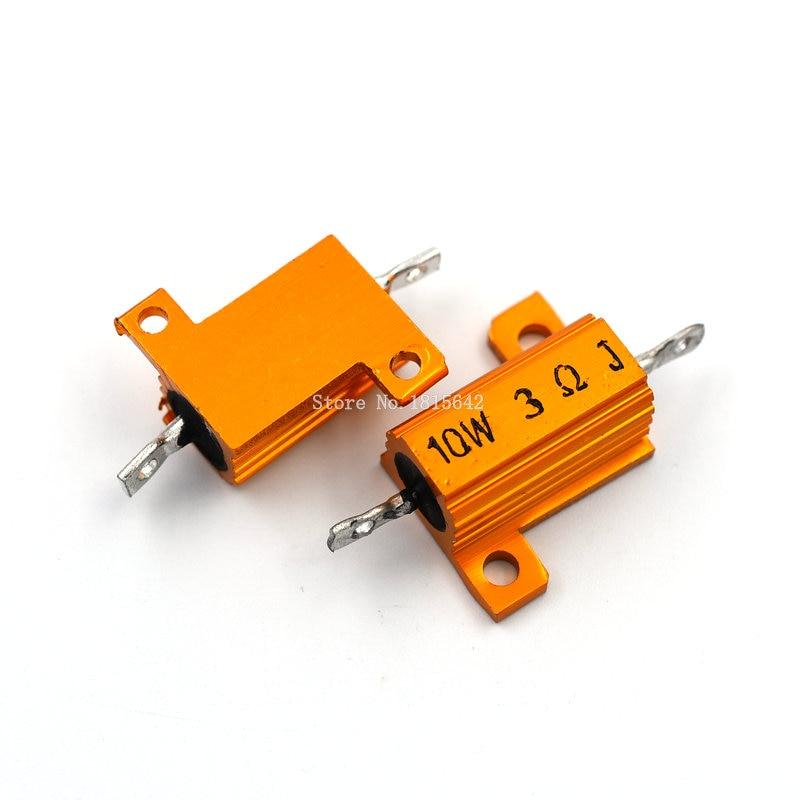 2PCS RX24 10W 3R 3RJ Wire Wound Resistor Metal Shell Aluminium Golden Resistor 10Watt 3 Ohm Heatsink Resistance
