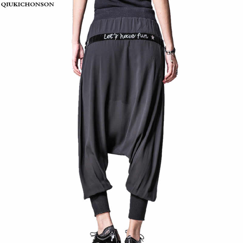 969e8fc407 Qiukichonson baggy pants women summer 2018 embroidery pockets see through  chiffon pants elastic waist hip hop