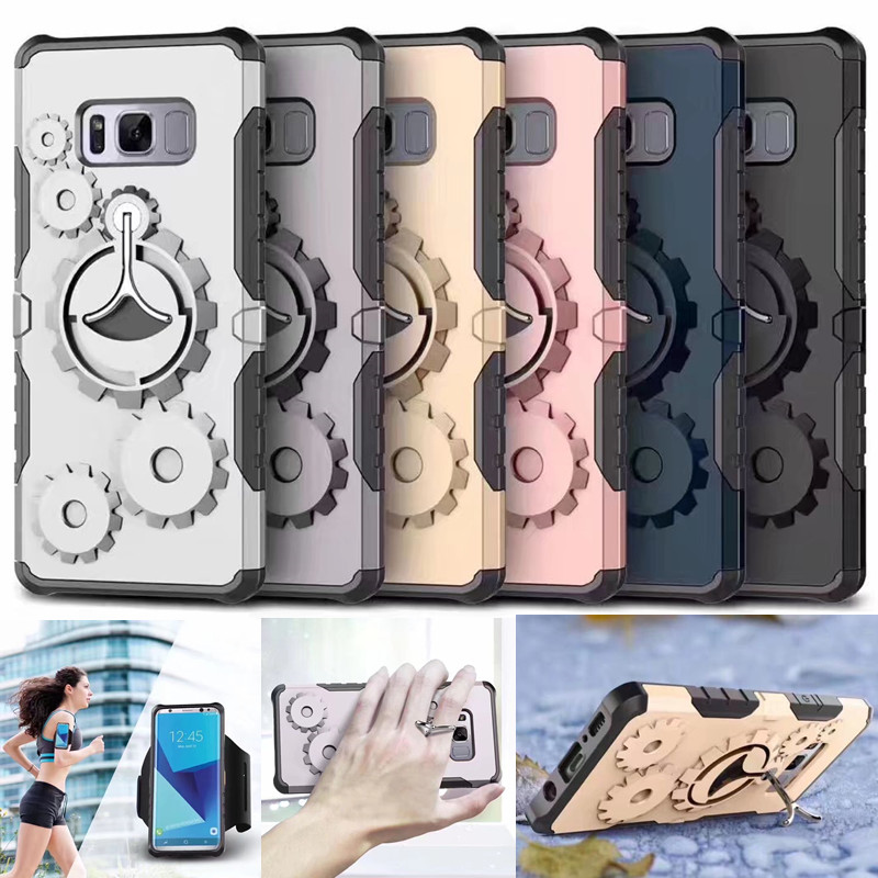 Multi Arm Band Sports Protective Shell Armor 360 Rotating Holder Mechanical Gear Case for Samsung Galaxy S8 Plus S7 Edge Cover